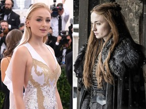"""Blond """"Game of Thrones"""" star Sophie Turner is seen with her preferred hair colour (L) in a 2017 file photo and as the red-headed Sansa Stark (R) in a publicity photo from the seventh season of the fantasy TV series. (Charles Sykes/Invision/AP/Helen Sloan/Courtesy of HBO via AP)"""