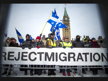 Groups opposed to Canada's support of the UN Global Compact for Safe, Orderly and Regular Migration held a rally to protest the United Nation Global Compact for Migration while anti-fascism and anti-racism activists counter-protested, Saturday, Dec. 8, 2018 on Parliament Hill.