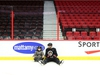 Ben Harpur of the Ottawa Senators sits with one of the many skaters during the annual Eugene Melnyk Skate for Kids at Canadian Tire Centre, December 20, 2018.    Photo by Jean Levac/Postmedia News  130657