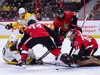 Ottawa Senators goaltender Craig Anderson (41) moves to cover the puck as Nashville Predators centre Colton Sissons (10), bottom left, fights to get his stick on it during first period NHL hockey action in Ottawa on Monday, Dec. 17, 2018. THE CANADIAN PRESS/Sean Kilpatrick ORG XMIT: SKP105