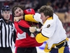 Ottawa Senators right wing Bobby Ryan (9) fights Nashville Predators centre Kyle Turris (8) during second period NHL hockey action in Ottawa on Monday, Dec. 17, 2018. THE CANADIAN PRESS/Sean Kilpatrick ORG XMIT: SKP106