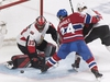 Montreal Canadiens' Phillip Danault moves in on Ottawa Senators goaltender Mike McKenna as Senators' Cody Ceci, right, defends during third period NHL hockey action in Montreal, Saturday, December 15, 2018. THE CANADIAN PRESS/Graham Hughes ORG XMIT: GMH112