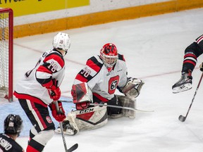 The Ottawa 67's Cedrick Andree makes a save against the Niagara Ice Dogs on Friday, Dec. 28, 2018 at the TD Place arena.