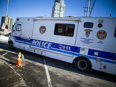 Ottawa police have the area around the Westboro transit station cordoned off with police tape and cruiser's Saturday Jan. 12, 2019, while the collision is investigated. Three people were killed and many were injured after an OC Transpo double-decker bus crashed on the transit way Friday afternoon.