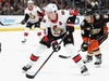 ANAHEIM, CA - JANUARY 09:  Mark Stone #61 of the Ottawa Senators splits the defense of Brandon Montour #26 and Rickard Rakell #67 of the Anaheim Ducks during the overtime period of a game at Honda Center on January 9, 2019 in Anaheim, California.  (Photo by Sean M. Haffey/Getty Images)
