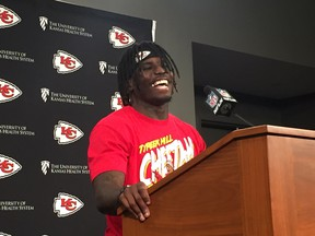 Chiefs receiver Tyreek Hill speaks during a news conference on Friday ahead of Sunday's AFC Championship game against New England. (DON BRENNAN/Postmedia Network)