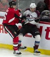 Ottawa Senators defenceman Cody Ceci collides with Colorado Avalanche centre Tyson Jost along the boards during third period NHL action in Ottawa, Wednesday, Jan. 16, 2019. THE CANADIAN PRESS/Adrian Wyld ORG XMIT: ajw110