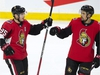 Ottawa Senators centre Matt Duchene celebrates his second goal of the game with teammate Cody Ceci during third period NHL action against the Colorado Avalanche, in Ottawa, Wednesday, Jan. 16, 2019. The Senators defeated the Avalanche 5-2. THE CANADIAN PRESS/Adrian Wyld ORG XMIT: ajw109