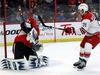 Ottawa Senators goaltender Anders Nilsson (31) makes a shoulder save as Carolina Hurricanes' Lucas Wallmark looks on during second period NHL hockey play in Ottawa on Sunday, January 6, 2019. THE CANADIAN PRESS/Fred Chartrand ORG XMIT: FXC108
