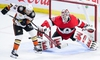 Anaheim Ducks left wing Brian Gibbons (23) misses deflection attempt as Ottawa Senators goaltender Anders Nilsson (31) makes a save during third period NHL hockey action in Ottawa on Thursday, Feb 7, 2019. THE CANADIAN PRESS/Sean Kilpatrick ORG XMIT: SKP108