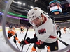 PHILADELPHIA, PENNSYLVANIA - MARCH 11: Zack Smith #15 of the Ottawa Senators digs for the puck in the corner against the Philadelphia Flyers in the first period at Wells Fargo Center on March 11, 2019 in Philadelphia, Pennsylvania. (Photo by Drew Hallowell/Getty Images)