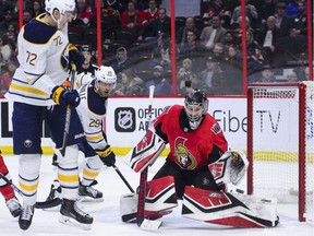 Ottawa Senators goaltender Craig Anderson (41) makes a save during the second period on his way to a 4-0 shutout against the Buffalo Sabres in NHL hockey action in Ottawa on Tuesday, March 26, 2019.