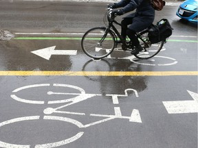 Bicycle in a bicycle lane in Ottawa