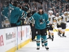 SAN JOSE, CA - APRIL 12:  Erik Karlsson #65 of the San Jose Sharks is congratulated by teammates after assisting on a goal scored by Tomas Hertl #48 of the San Jose Sharks against the Vegas Golden Knights against the Vegas Golden Knights during the first period in Game Two of the Western Conference First Round during the 2019 NHL Stanley Cup Playoffs at SAP Center on April 12, 2019 in San Jose, California.  (Photo by Thearon W. Henderson/Getty Images)