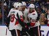 Ottawa Senators forward Anthony Duclair (10) celebrates his goal with teammates during the first period of an NHL hockey game against the Buffalo Sabres on Thursday, April 4, 2019, in Buffalo, N.Y. (AP Photo/Jeffrey T. Barnes) ORG XMIT: NYJB102