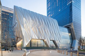 The Shed in New York has an extendable roof that allows it to be home to a variety of different events. (Supplied)