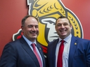 The Ottawa Senators announced that 42-year-old D.J. Smith will be the teams newest head coach. Smith is the 14th head coach in team history. Smith and general manager Pierre Dorion after the press conference. May 23, 2019.