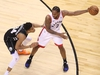 TORONTO, ONTARIO - MAY 25: Kawhi Leonard #2 of the Toronto Raptors handles the ball against Giannis Antetokounmpo #34 of the Milwaukee Bucks during the second half in game six of the NBA Eastern Conference Finals at Scotiabank Arena on May 25, 2019 in Toronto, Canada. NOTE TO USER: User expressly acknowledges and agrees that, by downloading and or using this photograph, User is consenting to the terms and conditions of the Getty Images License Agreement. (Photo by Claus Andersen/Getty Images)