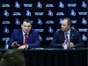 D.J. Smith, left, is announced as the Ottawa Senators new head coach by Senators general manager Pierre Dorion in Ottawa on Thursday, May 23, 2019. THE CANADIAN PRESS/Sean Kilpatrick ORG XMIT: SKP107