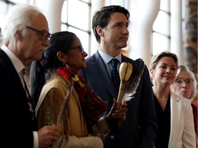 Prime Minister Justin Trudeau and his wife, Sophie, attend the closing ceremony of the National Inquiry into Missing and Murdered Indigenous Women and Girls in Gatineau on June 3, 2019.