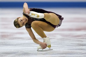 Canada's Alaine Chartrand performs her women's free program routine during an April competition in Japan. The former Nepean Skating Club athlete is taking an unspecified break from competitive skating, but the two-time national champion clarified that she is not retiring from the sport. (AP FILES)