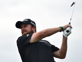 Ireland's Shane Lowry tees off on the 16th hole during the third round of the British Open golf Championships at Royal Portrush golf club in Northern Ireland on July 20, 2019.
