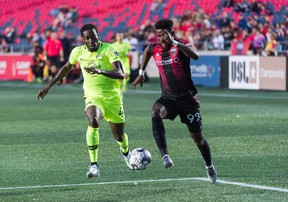 Wal Fall dribbles the ball against the Tampa Bay Rowdies on Wednesday night at TD Place.