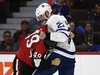 CP-Web.  Ottawa Senators right wing Scott Sabourin (49) and Toronto Maple Leafs defenceman Ben Harpur (22) fight during first period of preseason NHL hockey action in Ottawa, Wednesday September 18, 2019. THE CANADIAN PRESS/Justin Tang ORG XMIT: JDT105