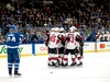 CP-Web.  The Ottawa Senators celebrate a goal by Max Lajoie against the Toronto Maple Leafs during first period NHL preseason action in St. John's, N.L. on Tuesday Sept. 17, 2019. THE CANADIAN PRESS/Joe Chase ORG XMIT: JCX204