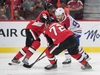 Sep 21, 2019; Ottawa, Ontario, CAN; Montreal Canadiens left wing Tomas Tatar (90) is checked by Ottawa Senators left wing Anthony Duclair (10) and defenseman Thomas Chabot (72) in the first period at the Canadian Tire Centre. Mandatory Credit: Marc DesRosiers-USA TODAY Sports ORG XMIT: USATSI-406647