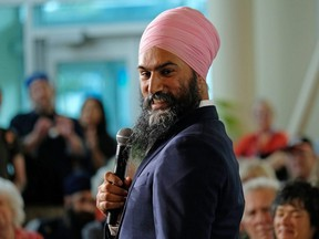 NDP leader Jagmeet Singh speaks at a town hall meeting on healthcare held at a community college campus during an election campaign stop in Halifax on Monday, Sept. 23, 2019.