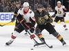 LAS VEGAS, NEVADA - OCTOBER 17:  Thomas Chabot #72 of the Ottawa Senators skates with the puck against William Karlsson #71 of the Vegas Golden Knights in the third period of their game at T-Mobile Arena on October 17, 2019 in Las Vegas, Nevada. The Golden Knights defeated the Senators 3-2 in a shootout.  (Photo by Ethan Miller/Getty Images)