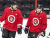 Bobby Ryan and Connor Brown skate during the warm up as the Ottawa Senators practice at Canadian Tire Centre in advance of their season opener against the Leafs in Toronto. Photo by Wayne Cuddington/Postmedia