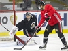 Craig Anderson makes a stop as the Ottawa Senators practice at Canadian Tire Centre in advance of their season opener against the Leafs in Toronto. Photo by Wayne Cuddington/Postmedia