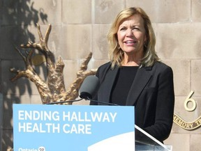 Christine Elliott, deputy premier and minister of health, on Sept. 24, 2019 making a funding announcement for a residential hospice in Elgin County. (Laura Broadley/Postmedia)