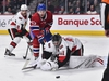 MONTREAL, QC - NOVEMBER 20:  Jordan Weal #43 of the Montreal Canadiens tries to collect a rebound from goaltender Craig Anderson #41 of the Ottawa Senators during the second period at the Bell Centre on November 20, 2019 in Montreal, Canada.  (Photo by Minas Panagiotakis/Getty Images)