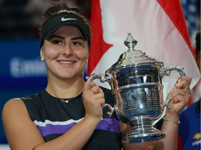 Bianca Andreescu poses with the 2019 U.S. Open trophy in September.