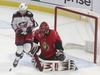 Ottawa Senator goalie Anders Nilsson tries to see past Alexander Wennberg from the Columbus Blue Jackets during NHL action in Ottawa Saturday Dec 14, 2019.   Tony Caldwell