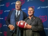 MONTREAL, QUE.: JANUARY 6, 2020 -- Canadian Football League commissioner Randy Ambrosie, left, poses for photos with Gary Stern, new owner, with parner Sid Spiegel, of the Montreal Alouettes in Montreal Monday January 6, 2020. (John Mahoney / MONTREAL GAZETTE) ORG XMIT: 63719 - 3889 ORG XMIT: POS2001061438244554