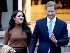 Prince Harry, Duke of Sussex and Meghan, Duchess of Sussex depart Canada House on Jan. 07, 2020 in London.