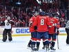 Jan 7, 2020; Washington, District of Columbia, USA; Washington Capitals left wing Alex Ovechkin (8) celebrates with teammates after scoring a goal against the Ottawa Senators during the third period at Capital One Arena. Mandatory Credit: Brad Mills-USA TODAY Sports ORG XMIT: USATSI-405660