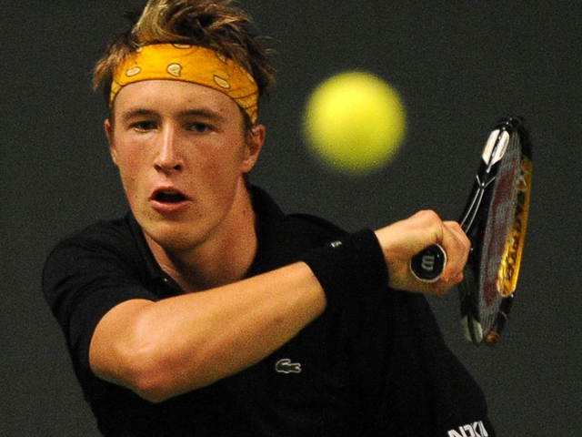 Finland's Henri Kontinen plays a forehand during his match against Michael Berrer of Germany in Stockholm on October 20, 2009 during the second day of the Stockholm Open tennis tournament. AFP PHOTO / OLIVIER MORIN (Photo credit should read OLIVIER MORIN/AFP/Getty Images)