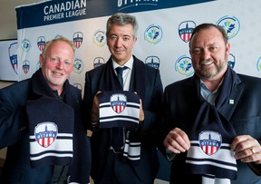 From left, Atlético Ottawa strategic partner Jeff Hunt, Club Atlético de Madrid general manager Miguel Ángel Gil and Canadian Premier League commissioner David Clanachan were on hand for the debut news conference of Ottawa's new soccer club.