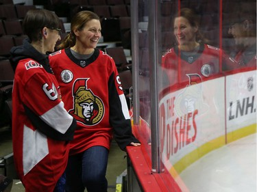 Jessica Dajko  (L) and Debbie Hynes share a laugh during a Soldier On event at the Canadian Tire Centre in Ottawa, February 03, 2020.  In partnership with the Canadian Forces' Soldier On Program, the Senators Alumni will host a two-day camp at Canadian Tire Centre in support of ill and injured veterans beginning Monday morning. On Monday, Feb. 3, a group of ill and injured veterans from the Canadian Forces (CF) Soldier On Program will arrive at Canadian Tire Centre for a two-day camp with the Senators Alumni.  Photo by Jean Levac/Postmedia News assignment 133187