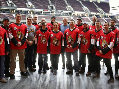 Mark Borowiecki spent time with Soldier On participants at the Canadian Tire Centre in Ottawa, February 03, 2020.  In partnership with the Canadian Forces' Soldier On Program, the Senators Alumni will host a two-day camp at Canadian Tire Centre in support of ill and injured veterans beginning Monday morning. On Monday, Feb. 3, a group of ill and injured veterans from the Canadian Forces (CF) Soldier On Program will arrive at Canadian Tire Centre for a two-day camp with the Senators Alumni.  Photo by Jean Levac/Postmedia News assignment 133187
