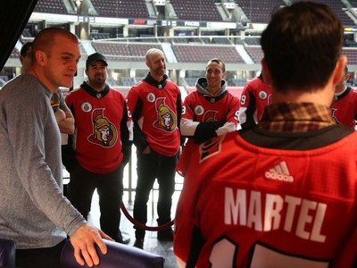 Mark Borowiecki talks to participants of the Soldier On event at the Canadian Tire Centre in Ottawa, February 03, 2020.  In partnership with the Canadian Forces' Soldier On Program, the Senators Alumni will host a two-day camp at Canadian Tire Centre in support of ill and injured veterans beginning Monday morning. On Monday, Feb. 3, a group of ill and injured veterans from the Canadian Forces (CF) Soldier On Program will arrive at Canadian Tire Centre for a two-day camp with the Senators Alumni.  Photo by Jean Levac/Postmedia News assignment 133187