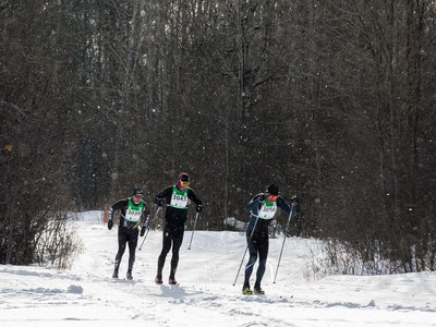 Jimmy Pellerin (#3039), Philippe Quessy (#3043), and Stephen Flower (#3056) exit the wooded area of the 27 km Classic event at the Gatineau Loppet. February 15, 2020. Errol McGihon/Postmedia