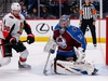Feb 11, 2020; Denver, Colorado, USA; Colorado Avalanche goaltender Philipp Grubauer (31) makes a save against Ottawa Senators center Colin White (36) in the first period at the Pepsi Center. Mandatory Credit: Isaiah J. Downing-USA TODAY Sports ORG XMIT: USATSI-405867