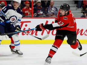 Ottawa's Nick Paul scores his goal during a game between the Ottawa Senators and the Winnipeg Jets on Feb. 20, 2020.