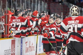 Ottawa 67's Tommy Johnston celebrates after scoring his first OHL goal during last night's win over the Niagara Ice Dogs.(VALERIE WUTTI PHOTO)